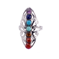 New Hollow Rhinestone Copper Healing Chakra Stone Open Adjustable Rings